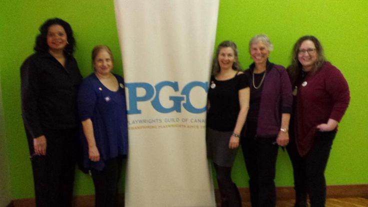 Yvette Heyliger (LPTW), Shellen Lubin (Coalition, LPTW, DG, SDC, AEA, NTC ...), Rebecca Burton (EIT, PGC), Martha Richards (WomenArts, LPTW), Maria Nieto (Coalition, WGAE) at PGC for #InternationalEIT