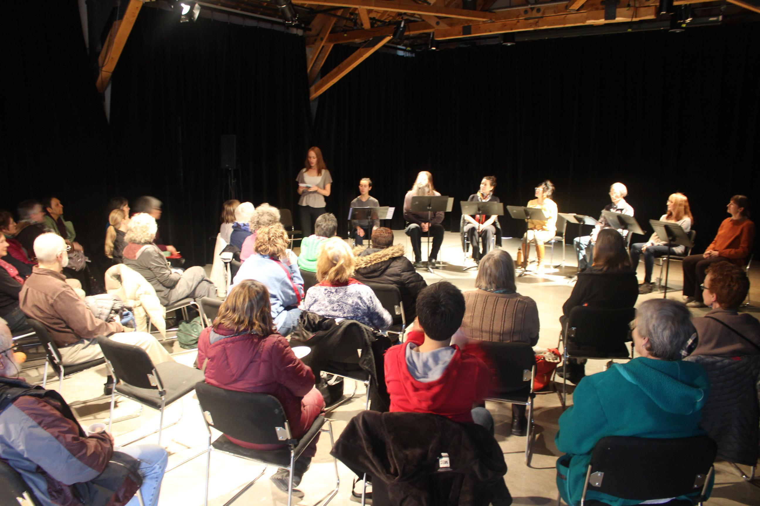 Lillian Nakamura Maguire's reading with Gwaandak Theatre. Photo credit: Gwaandak Theatre