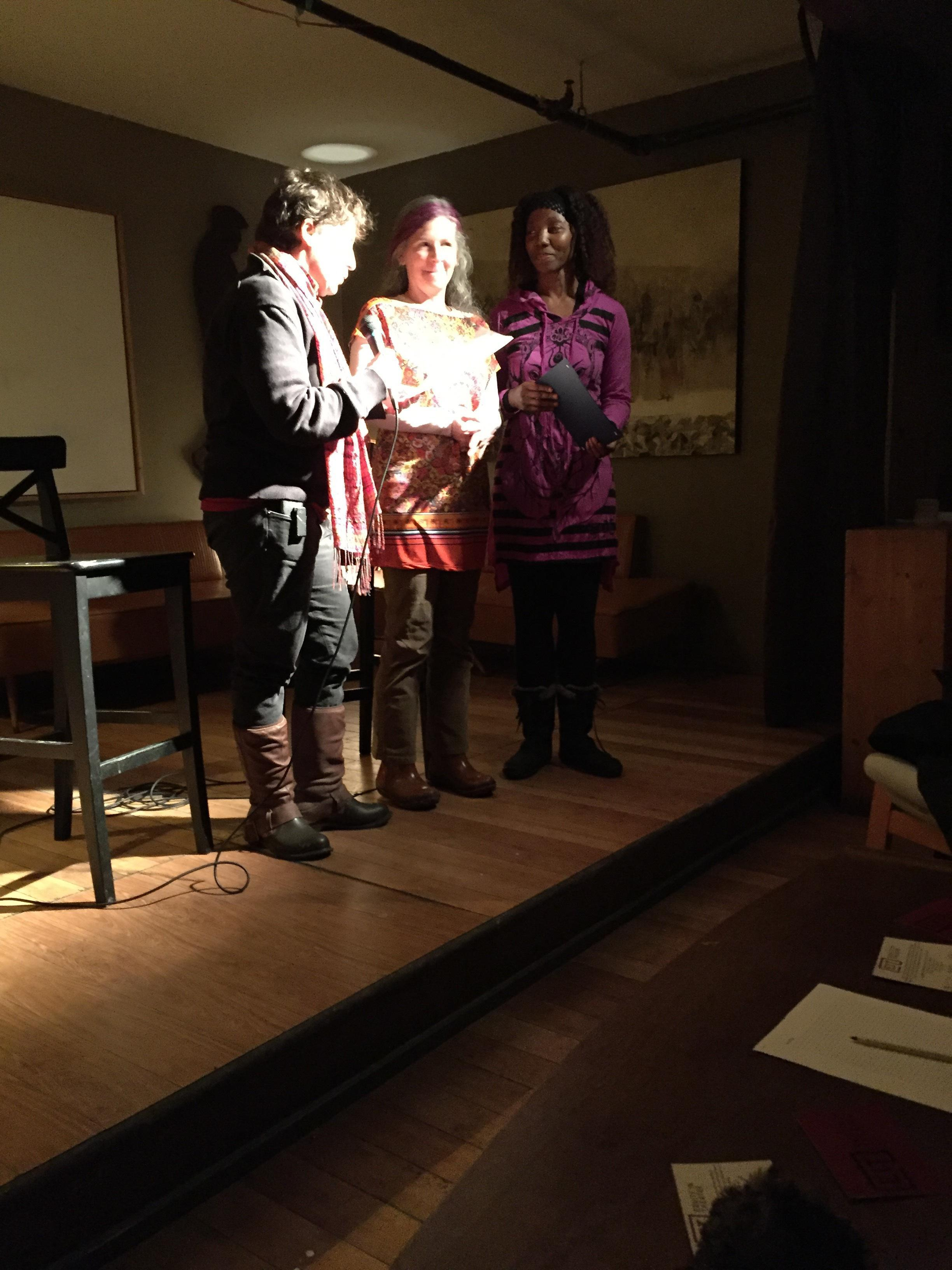 Lois Fine (Left) and Alicia Payne (Right) presenting Rebecca Burton (middle) with the Bra D'Or Award